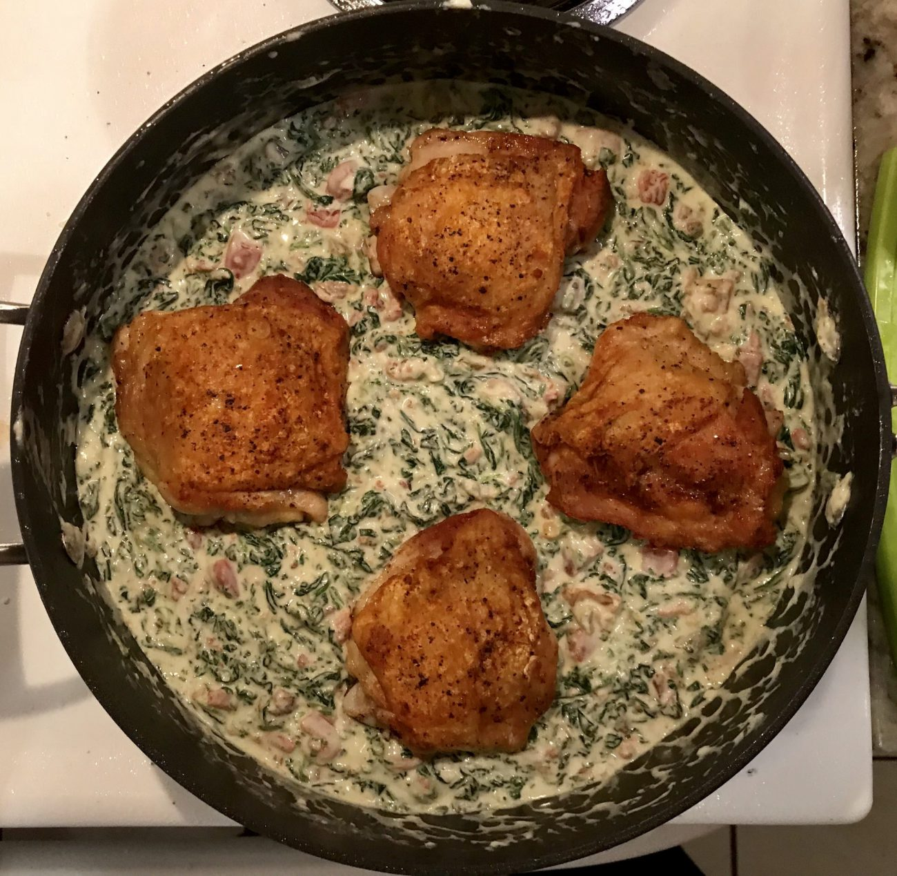 Keto Creamed Spinach with Chicken Thighs