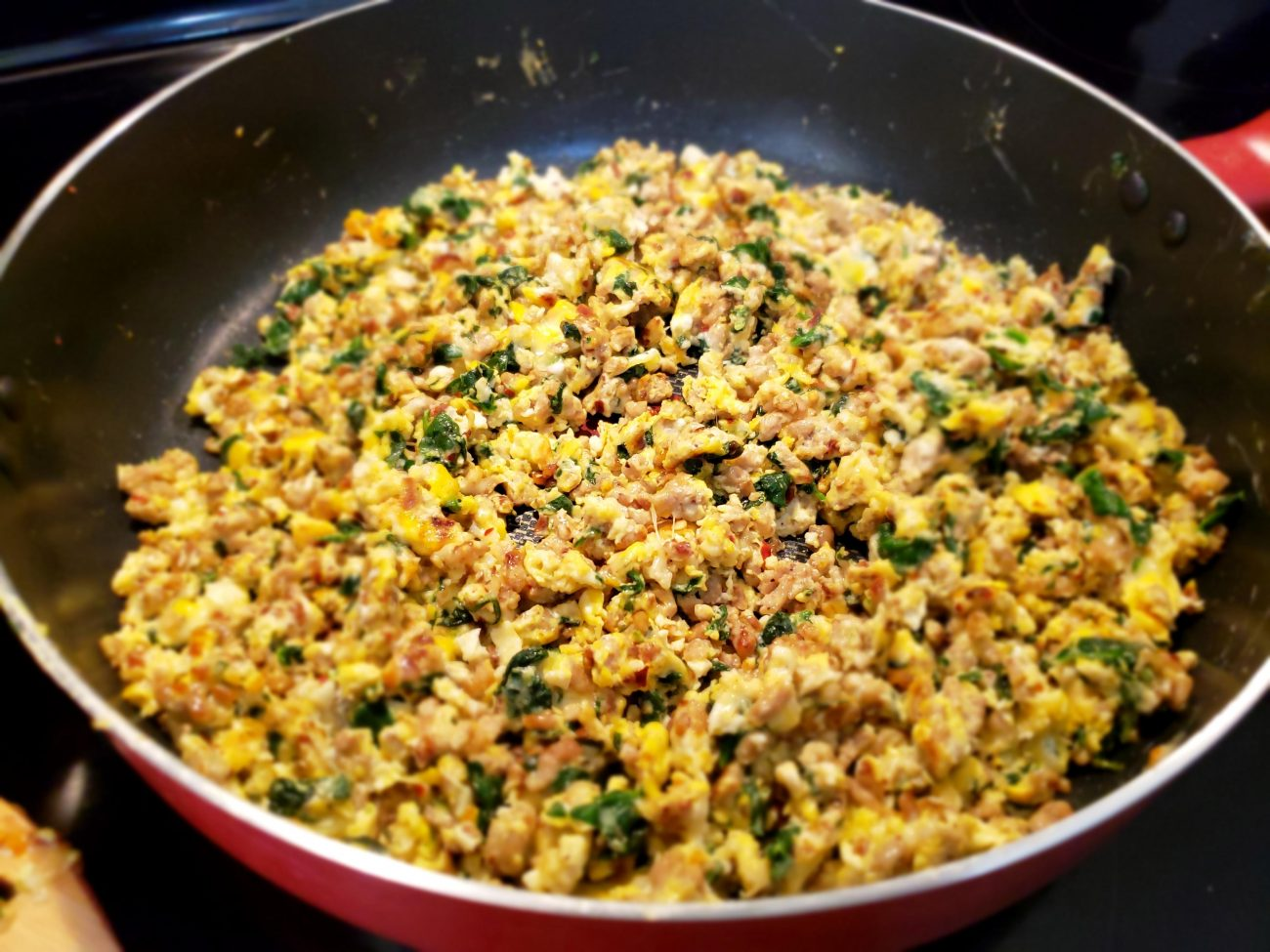 Ground Turkey, Spinach and Eggs