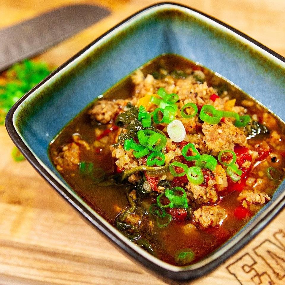 Sausage Spinach Cauliflower Keto Soup